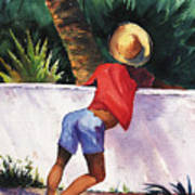Boy Leaning On Wall Poster
