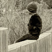 Boy On Fence - Sepia Poster