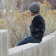 Boy On Fence Poster