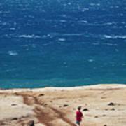Boy Runs Toward Ocean Poster