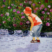 Boy Smeling Flowers Poster