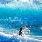 Boy And Wave   Kekaha Beach Poster