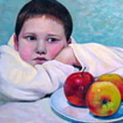 Boy With Apples Poster