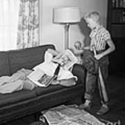 Boy With Baseball Vs. Napping Dad Poster