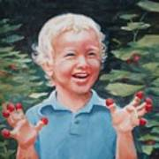 Boy With Raspberries Poster