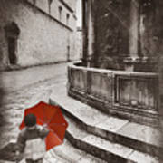 Boy With Umbrella Poster