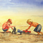Boys And Trucks On The Beach Poster