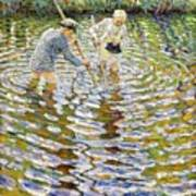 Boys Fishing For Minnows Poster