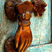 Brass Hand On The Blue Door Poster by Mexicolors Art Photography
