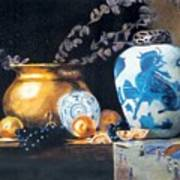 Brass Pot With White And Blue Vase Poster