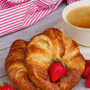 Breakfast With Croissants Poster