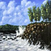 Breaking Waves Painting Poster