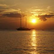 Breathtaking Sailboat Ocean Sunset #0182 Poster