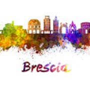 Brescia Skyline In Watercolor Poster