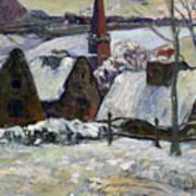 Breton Village Under Snow Poster by Paul Gauguin