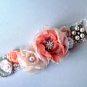 Bridal Sash Belt With Flowers And Rhinestones Poster