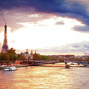 Bridge Of Alexandre IIi And Eiffel At Violet Sunset Poster