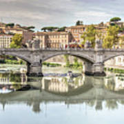 Bridge Over The River Tevere, Rome, Italy Poster