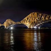 Bridge Over Water Lights. Poster