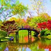 Bridge With Red Bushes In Spring Poster
