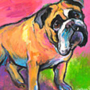 Bright Bulldog Portrait Painting  Poster