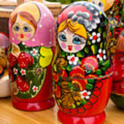 Bright Russian Matrushka Puzzle Dolls Poster