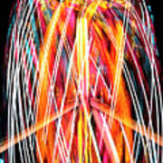 Brightly Colored Abstract Light Painting At Night From The Fireb Poster