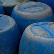 Brightly Colored Blue Barrels Poster