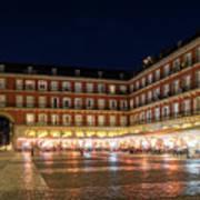 Brightly Lit Midnight - Plaza Mayor In Madrid Spain Poster