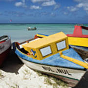 Brightly Painted Fishing Boats Aruba Poster