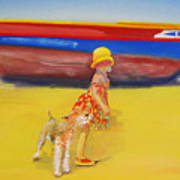 Brightly Painted Wooden Boats With Terrier And Friend Poster