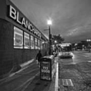 Brighton Ave Packard's Corner Allston Ma Sidewalk Black And White Poster