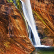 Brilliant Colored Walls Of Utah's Lower Calf Creek Falls. Poster