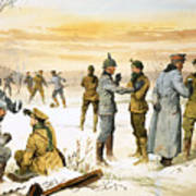 British And German Soldiers Hold A Christmas Truce During The Great War Poster