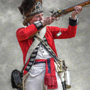 British Redcoat Firing Musket Portrait  Poster by Randy Steele