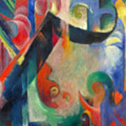 Broken Forms By Franz Marc Modern Bright Colored Painting  Poster
