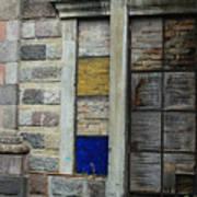 Broken Glass Window With Bricks Poster
