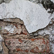 Broken White Stucco Wall With Weathered Brick Texture Poster