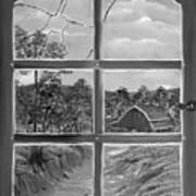 Broken Window In Black And White Poster