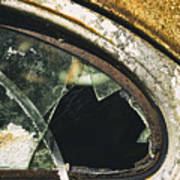 Broken Window On A Rusty Scraped Classic Car Poster