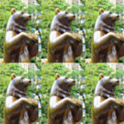 Bronze Statue Sculpture Of Bear Clapping Fineart Photography From Newyork Museum Usa Fineartamerica Poster