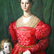 Bronzino's A Young Woman And Her Little Boy Poster