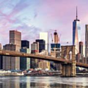 Brooklyn Bridge And Skyline At Sunrise, New York, Usa Poster