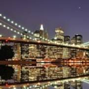 Brooklyn Bridge At Night Poster by Sean Pavone