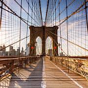 Brooklyn Bridge At Sunset, New York, Usa Poster