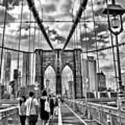 Brooklyn Bridge Walkway   B  And  W Poster