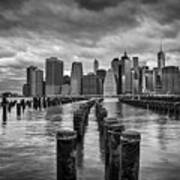 Brooklyn Pilings Bw Poster