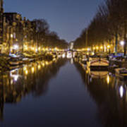 Brouwersgracht Canal In Amsterdam At Night. Poster