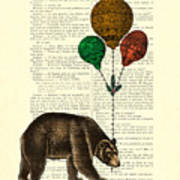 Brown Bear With Balloons Poster