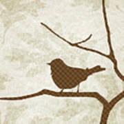 Brown Bird Silhouette Modern Bird Art Poster